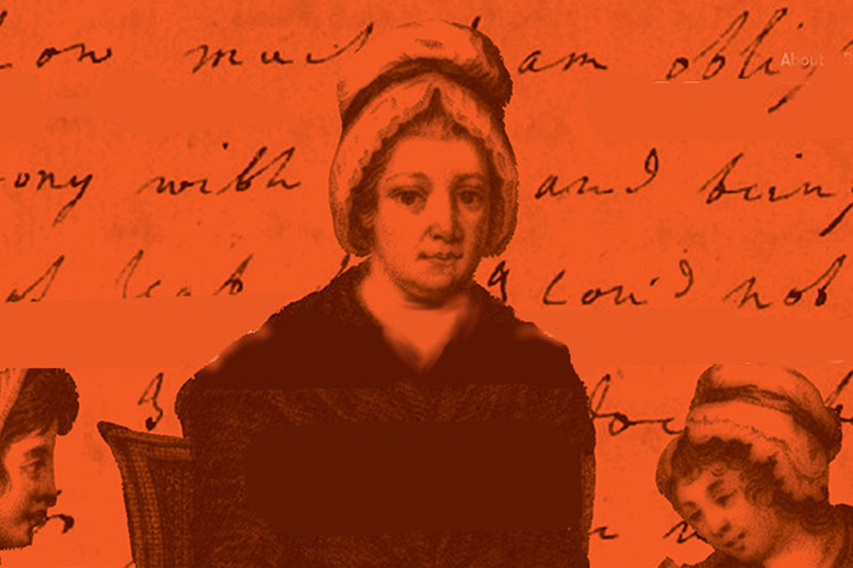 An image of Nano Nagle with orange background and her letters set behind.