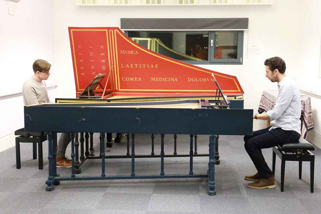 Two harpsichords back to back played simultaneously by Tom O Drisceoil and James Taylor